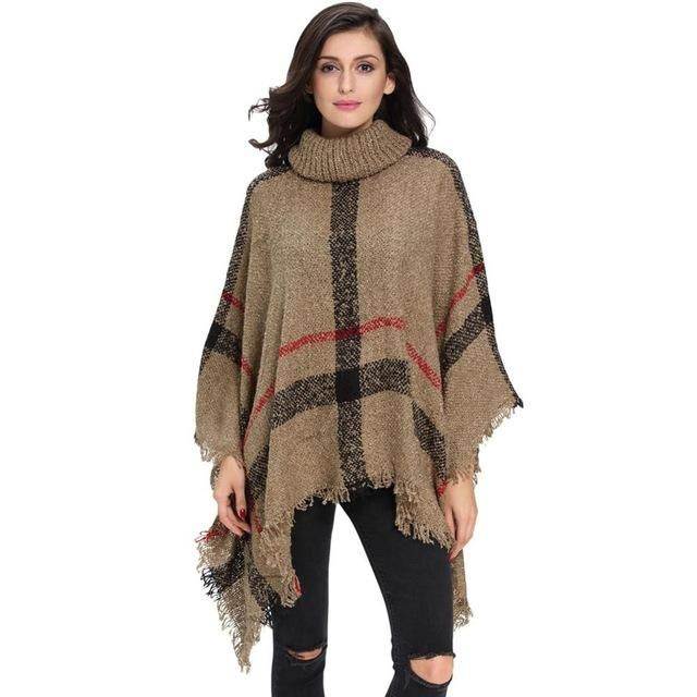 Women's Warm Wool Turtleneck Sleeveless Plaid Knit Sweater Poncho ...