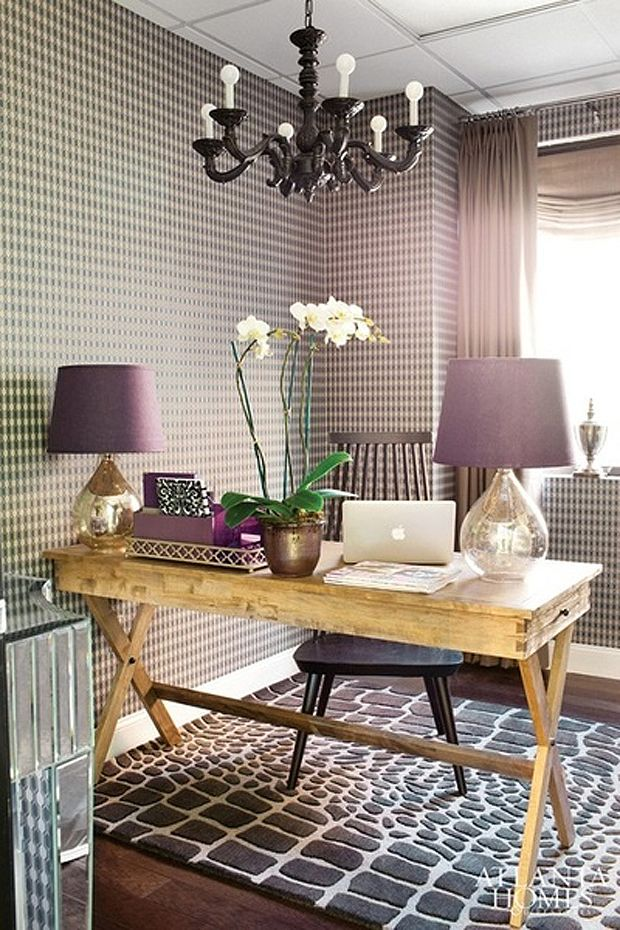 Atlanta homes lifestyles dens libraries offices world market campaign desk plum wallpaper purple wallpaper plum geometric wallpaper