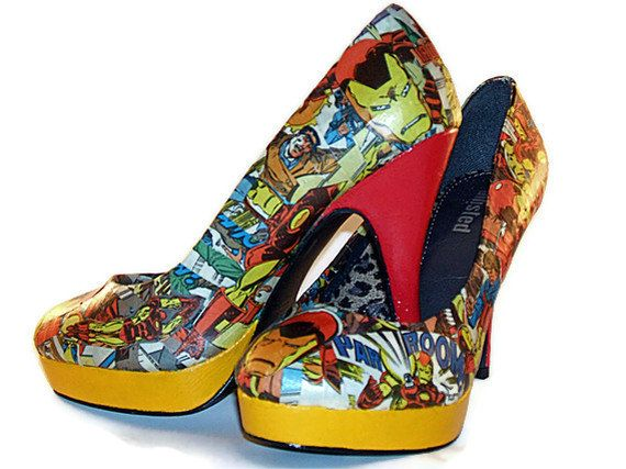 Tony Stark - Iron Man Red and Yellow Comic Book High Heels - Marvel - Geekery