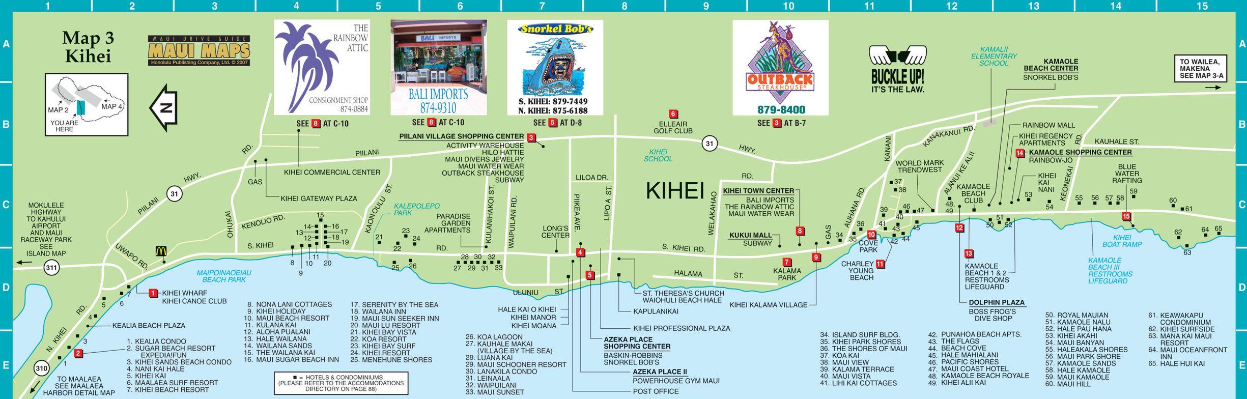 Kihei Map Kihei Maui Hi Us Mappery Maui Travel Maui