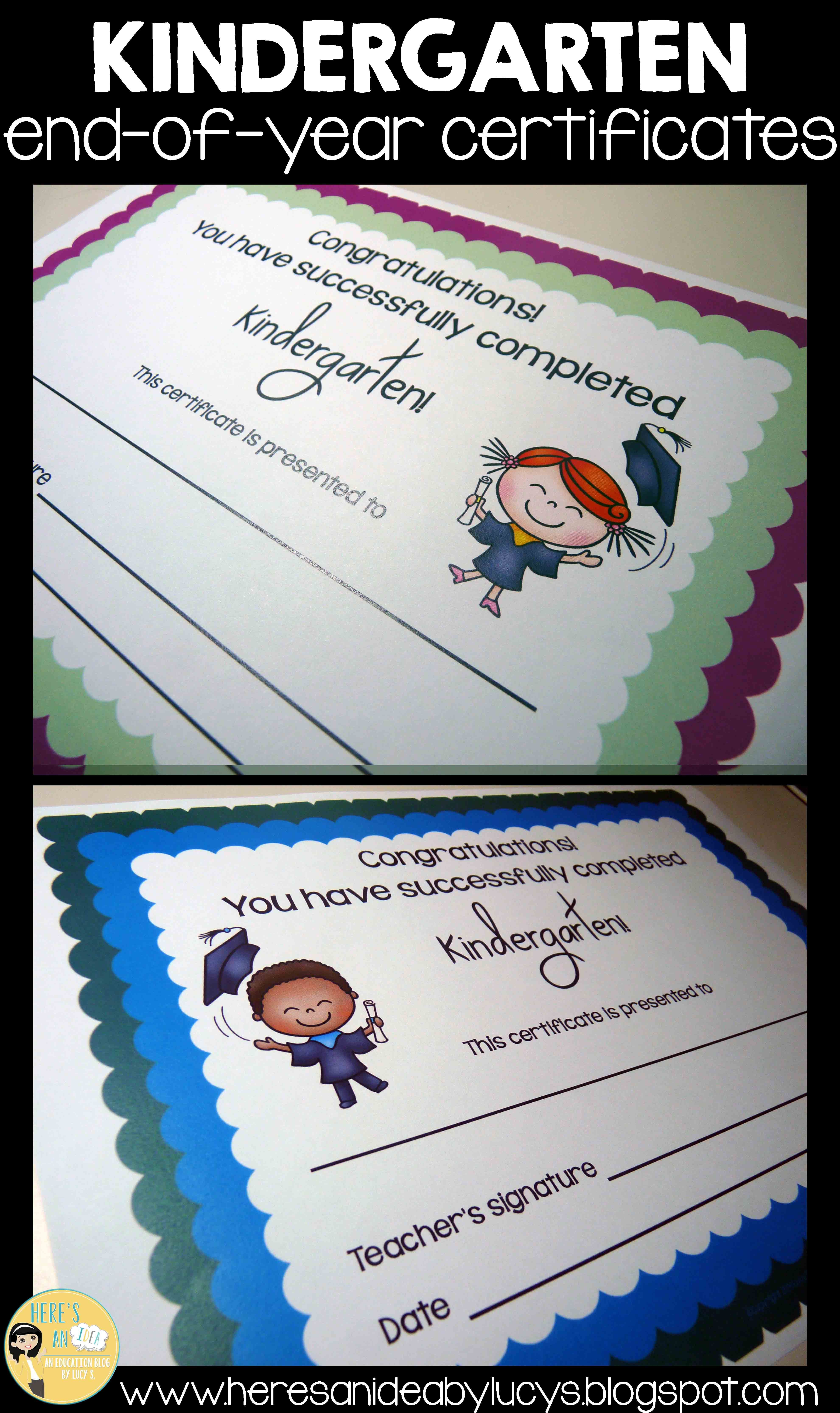 Kindergarten End Of Year Certificates