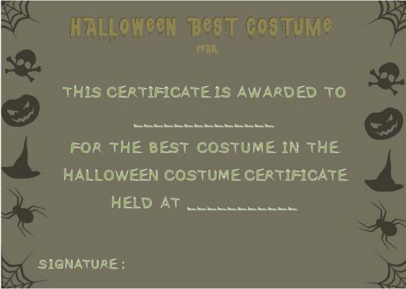 Best Dressed Certificate Template | Halloween Costume Certificate ...