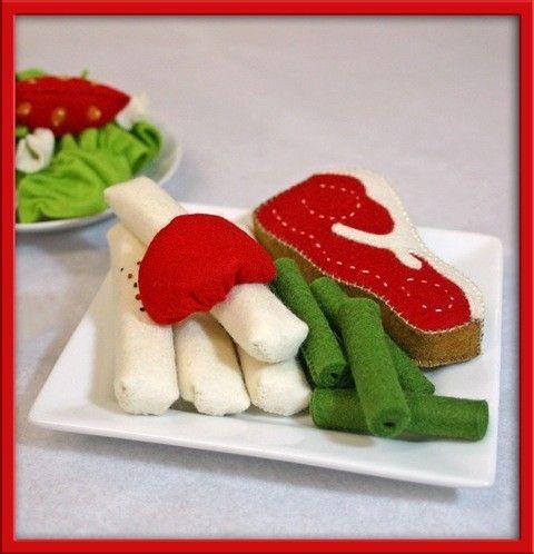Felt Play Food Steak Waldorf Inspired Play Food for von EvaLauryn