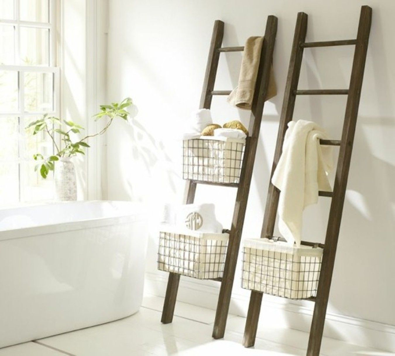Image of towel ladder white home decor pinterest for Bathroom decor ladder