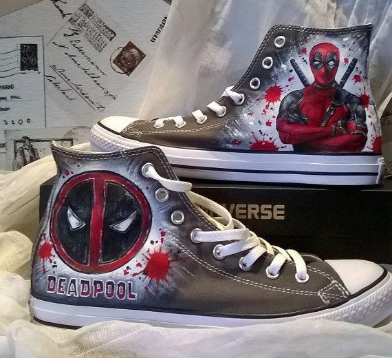 a5aca6853b4b Deadpool custom hand painted Converse Chuck Taylors