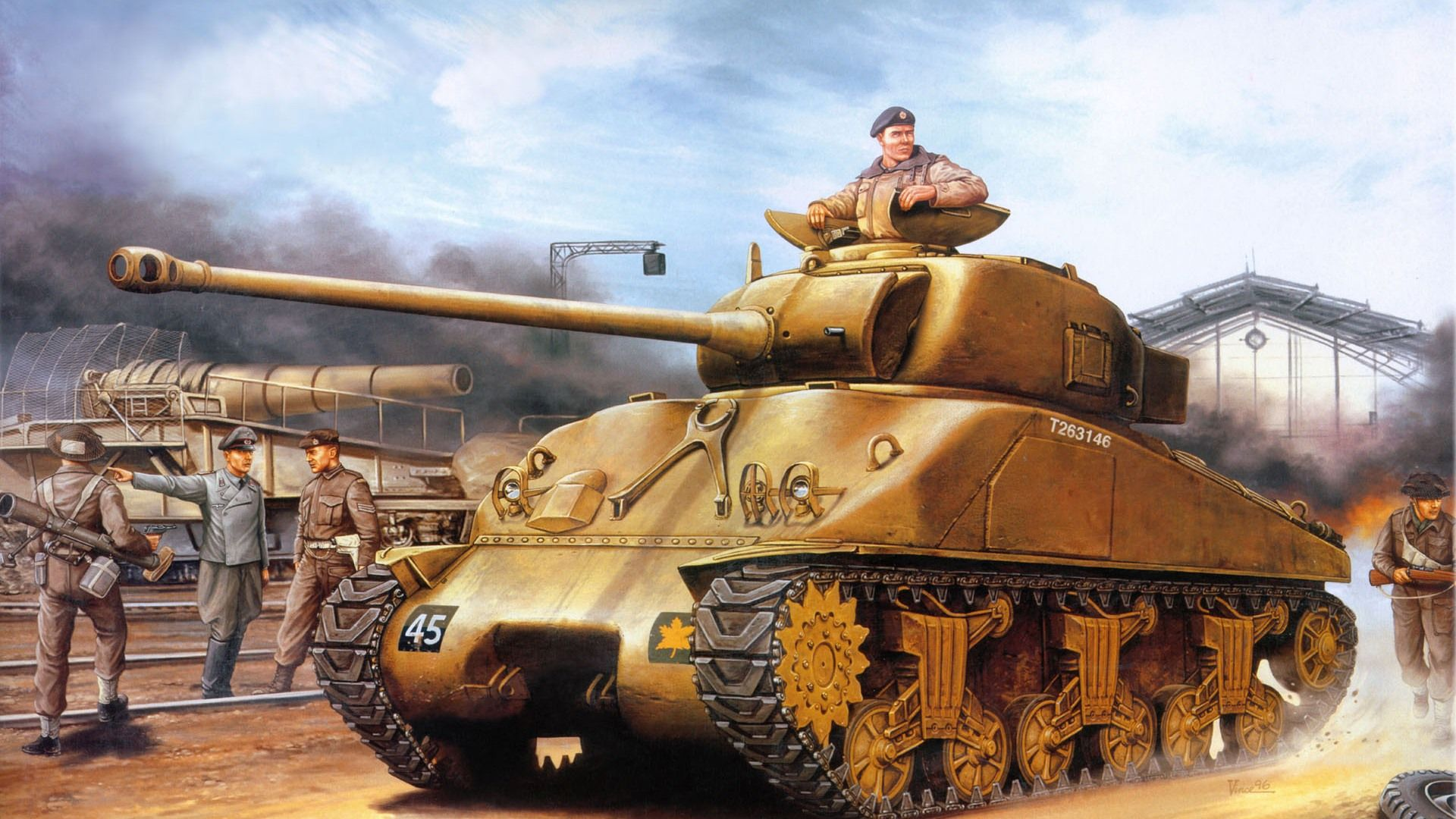 Military tanks, armored HD painting wallpapers #10