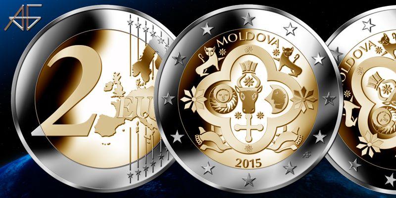 Frizio Design Moldova 2 Euro Fantasy Coin Pattern 2015 Monnaie
