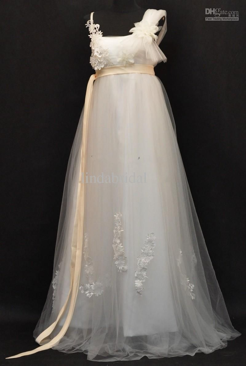 2017 Empire Waist Wedding Dresses Long A Line Maternity