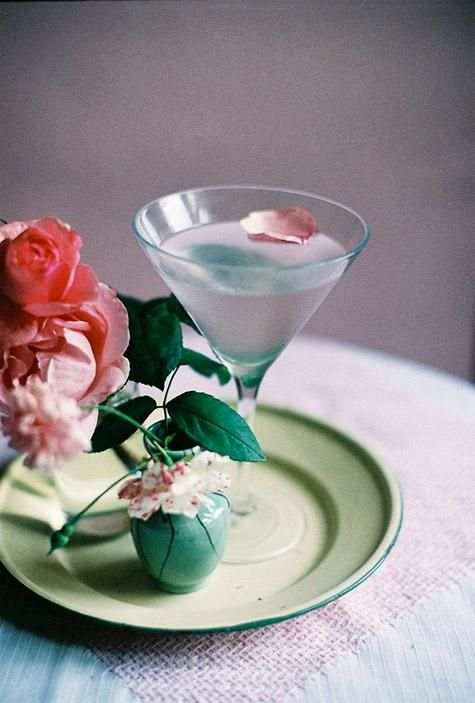 Rosetini cocktail recipe from Lauren Conrad. Pretty and delicious. Love the rose petal - such a nice touch.