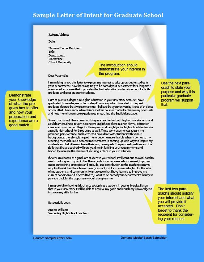 Example of a Letter of Intent Pinterest School, College and - letter of intent for university