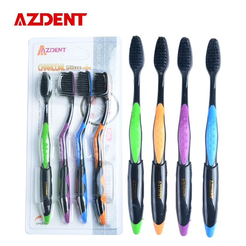 2.99$  Watch more here - AZDENT Hot 4PCS Double Ultra Soft Toothbrush Bamboo Charcoal Nano Brush Oral Care 625 Nano-antibacterial Toothbrush Black Heads   #buyonlinewebsite