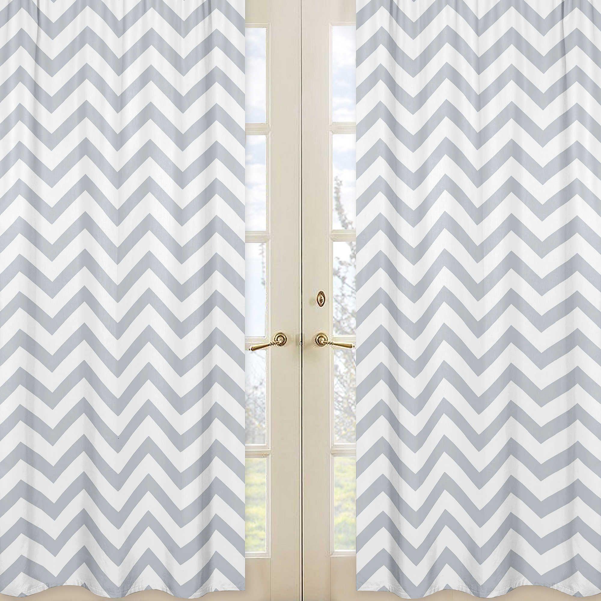 Sweet Jojo Designs Chevron Window Panel Pair In Grey And White Curtains Rod Pocket Curtain Panels
