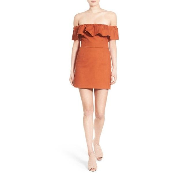 KENDALL + KYLIE Ruffle Off the Shoulder Minidress ( 178) ❤ liked on  Polyvore featuring dresses abec88090