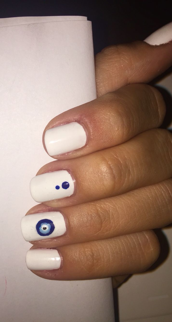 Evil eye nail design! Love it ❤ | Fairy Nails | Pinterest | Evil ...
