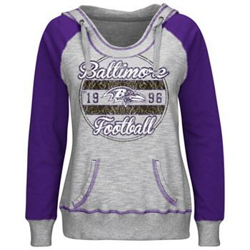 Majestic Baltimore Ravens O.T. TD IV Colorblock Fleece Hoodie - Women's