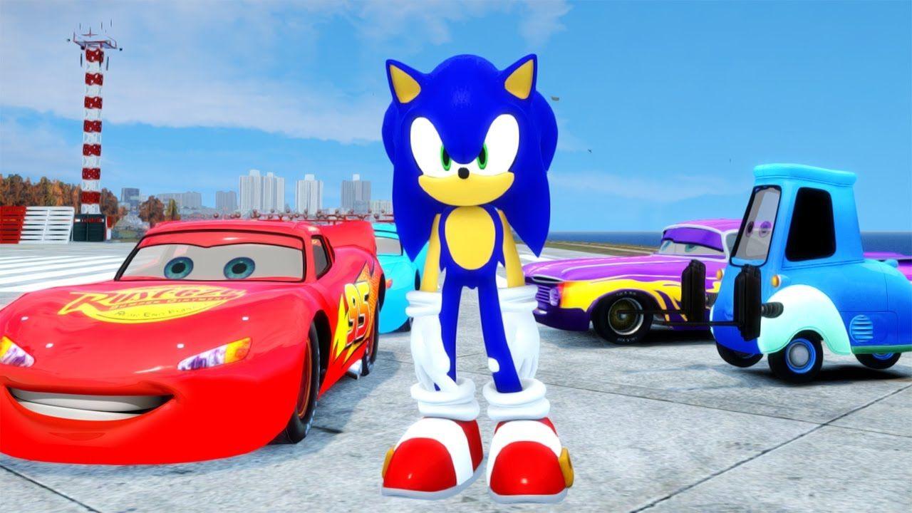Sonic Hedgehog Fun Day With Mcqueen Friend Disney Cars Pixar Songs F