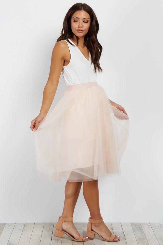 72fcd158aeffa Ivory Tulle Mesh Maternity Midi Skirt | Mama Style | Maternity maxi ...