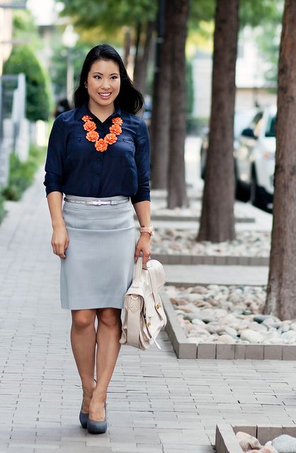 navy camp button down shirt, light gray dusk pencil skirt, orange bloom  flower bib - Navy Camp Button Down Shirt, Light Gray Dusk Pencil Skirt, Orange
