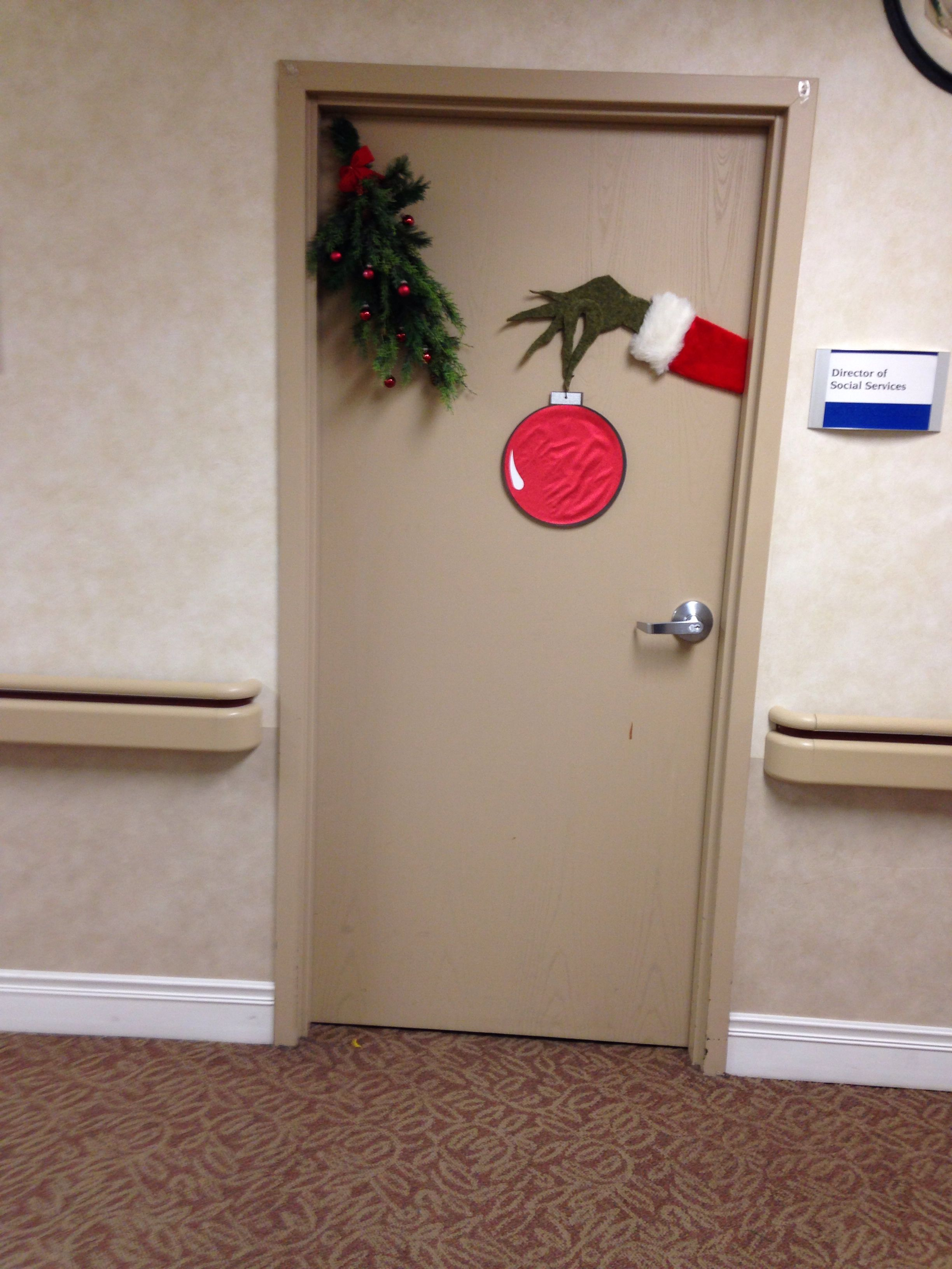 Grinch door decorating Office christmas decorations