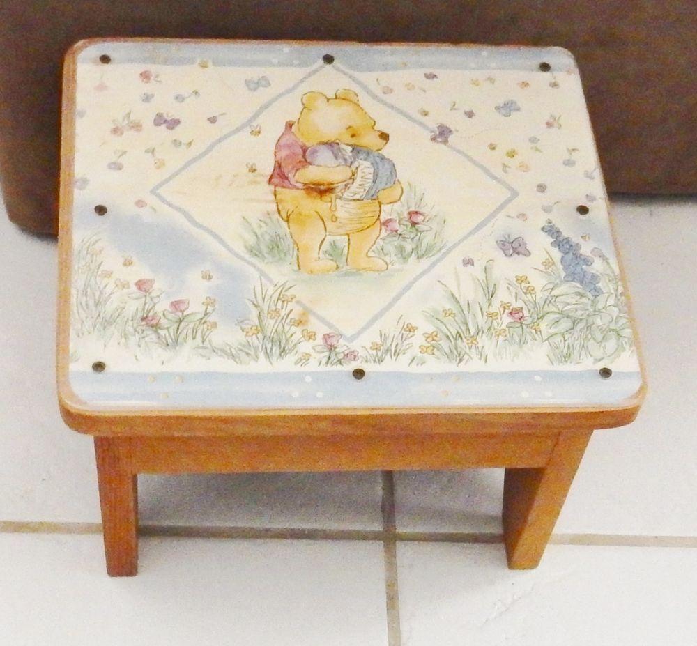 Vintage Disney Winnie The Pooh Wood Step Stool Kids Hand Crafted Furniture  #Disney