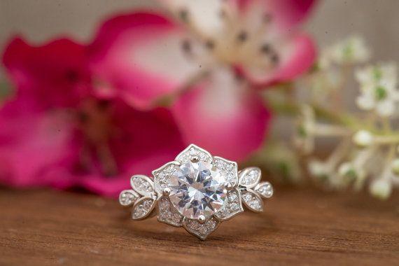 Art Deco anello di fidanzamento anello di nozze di BelisleJewelry