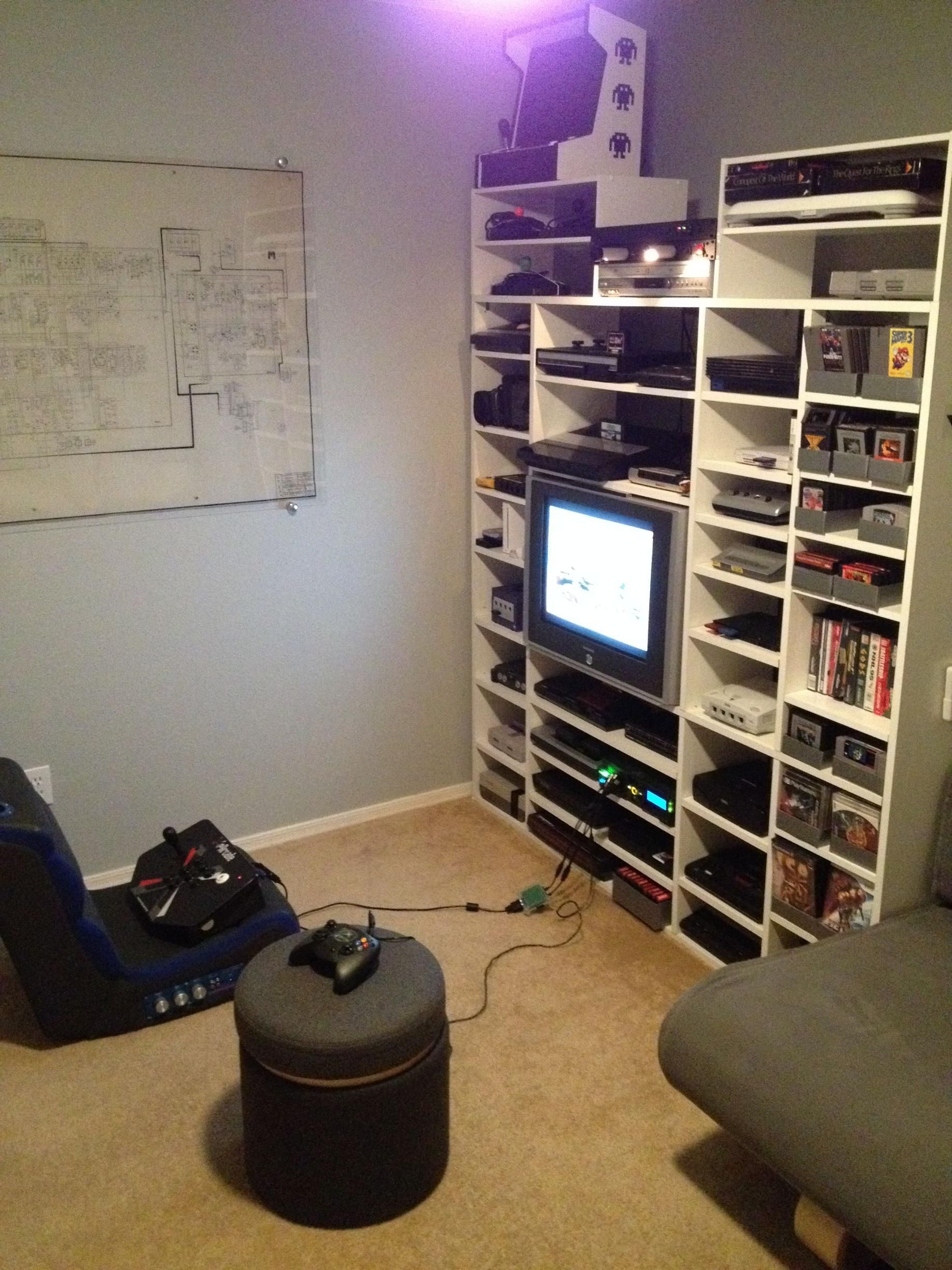 Video game console wall game room shelves via reddit user franchy36 look at all those gaming - Gaming room setup ideas ...
