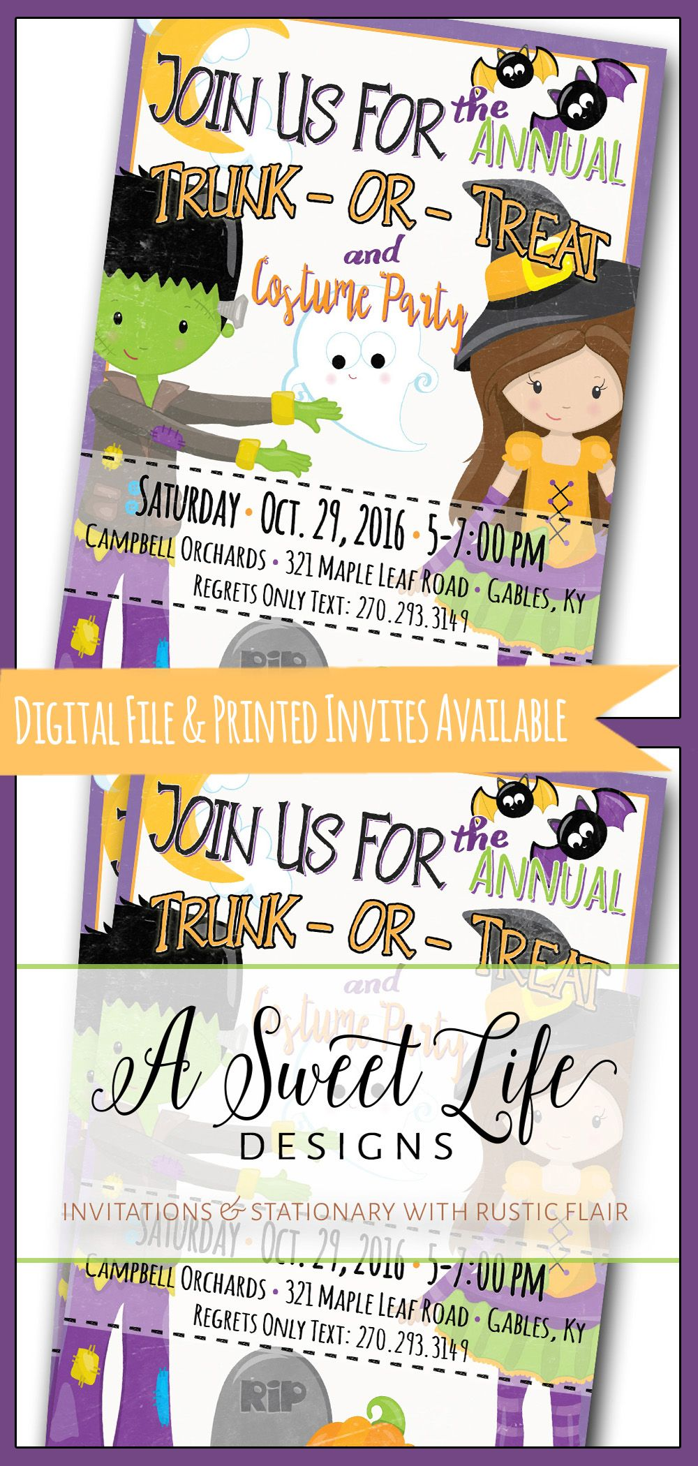 Halloween Party Invitation - Trunk or Treat Flyer - Costume Party ...