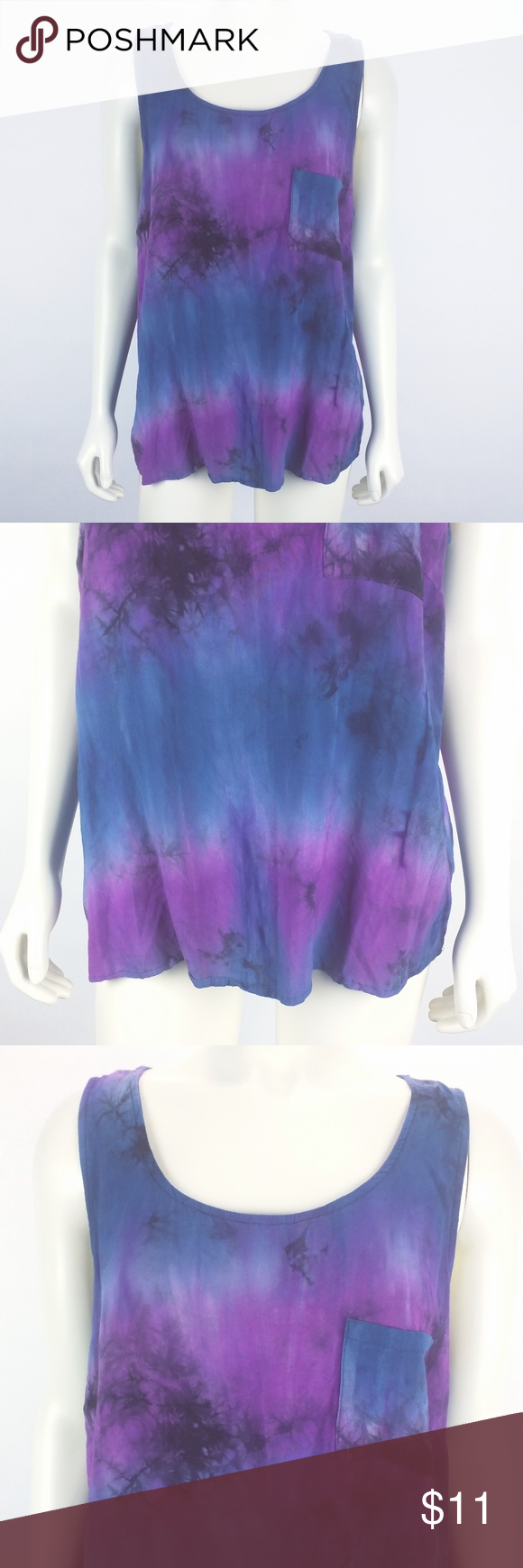 8674bb4e308 Forever 21+ Plus Size Blue Purple Tie Dye Tank 2X