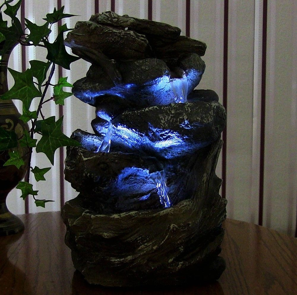 Indoor Water Fountain Led Light Tabletop Waterfall Zen Decor Table