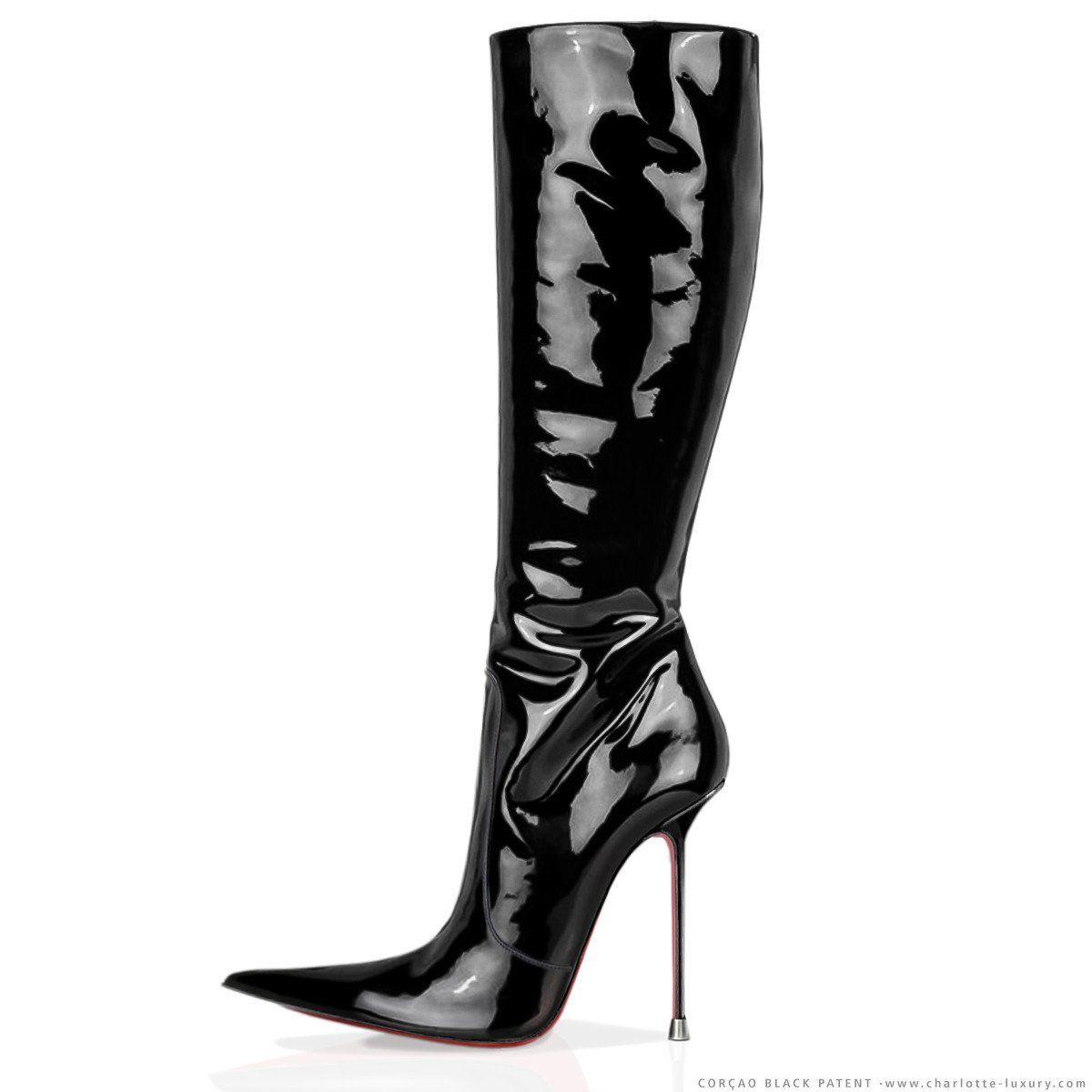 Corçao Black Patent · Charlotte Luxury Boots · Luxury High Heel Pointy Boots 81ade679c7