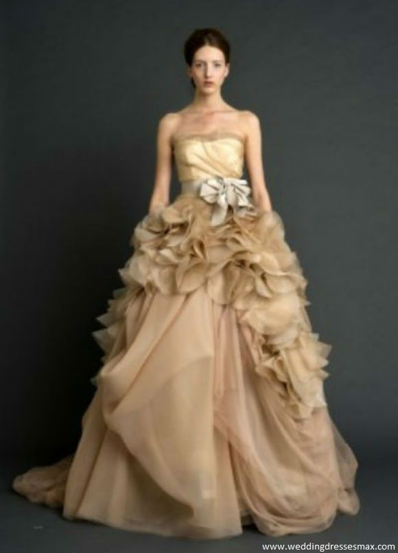 Pale Nude One Shoulder Organza Ballgown Vera Wang Spring Wedding Dresses Collection 2012