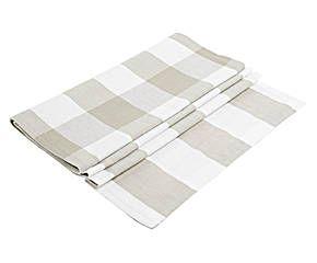 Mantel reversible rayas y cuadros, beige y blanco – 45x150