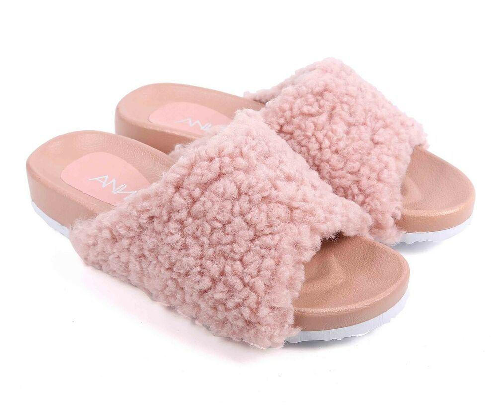 1ecd1eae6616a Mauve Faux Fur Fluffy Flip-Flop Open Toe Womens Sandals Flip Flops Size 7.5  #