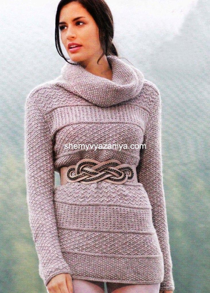 Платье свитер схема вязания