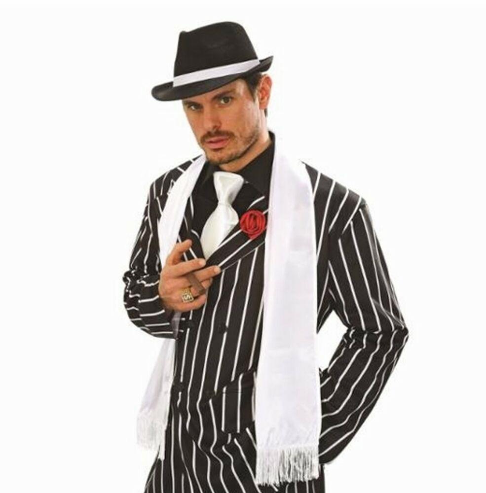 Mens Victorian Edwardian 1920/'s Gangster Fancy Dress Gangster White Satin Scarf