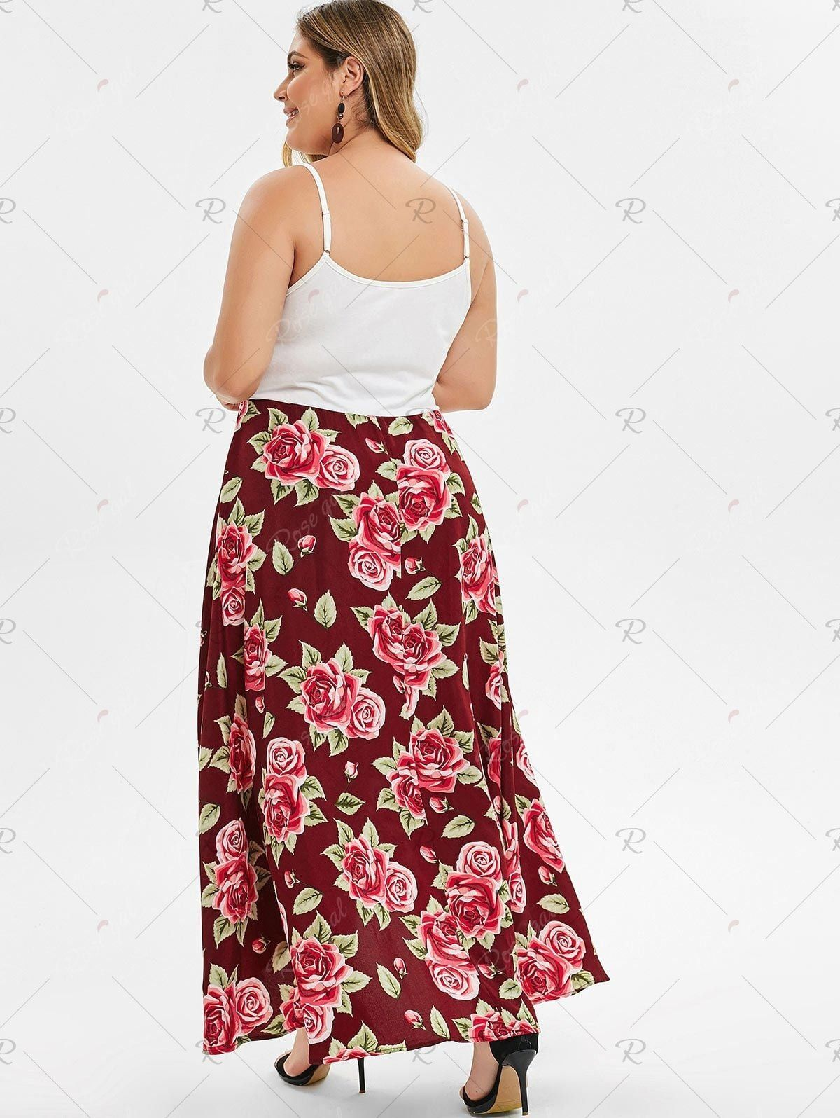 Plus Size Twist High Low Maxi Floral Dress 1000 in 2020