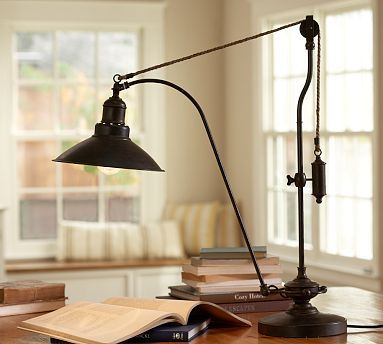 Glendale Pulley Task Table Lamp Bronze Finish At Pottery Barn