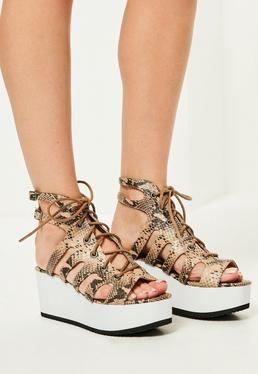 2dbb3386a08a6c Nude Snake Print Lace Up Flatform Sandals