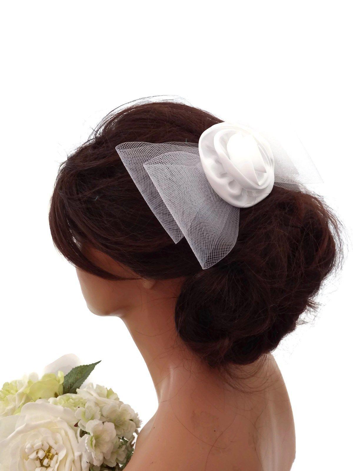 large white mesh net bow satin rosette hair comb slide