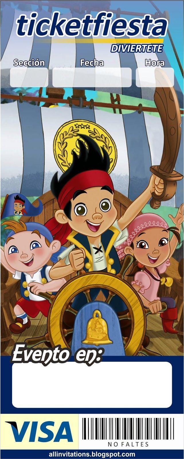 Invitación ticketmaster Jake y los piratas | invitaciones ...