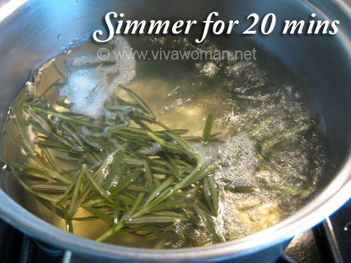 Boiling Rosemary Hair Tonic DIY Beauty: homemade rosemary hair tonic rinse #oilyhair