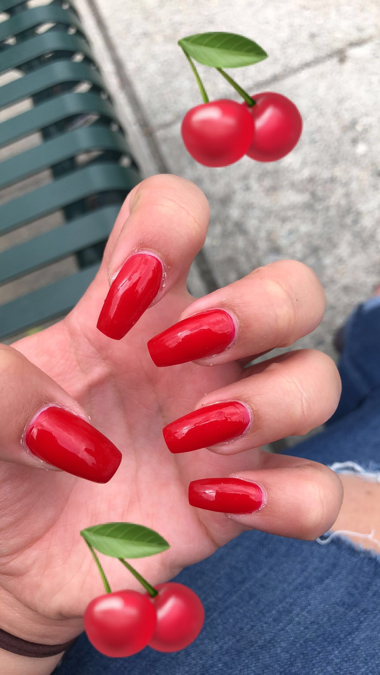 Acrylic Almond Shape Red Cherry Summer Nails Red Summer Nails