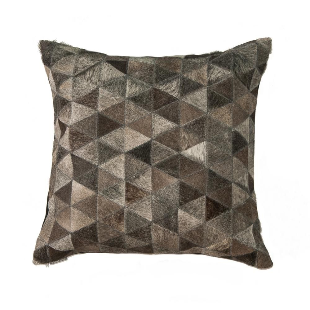 Two S Company Tozai Gray Leather Cowhide Pillows Set Of 2