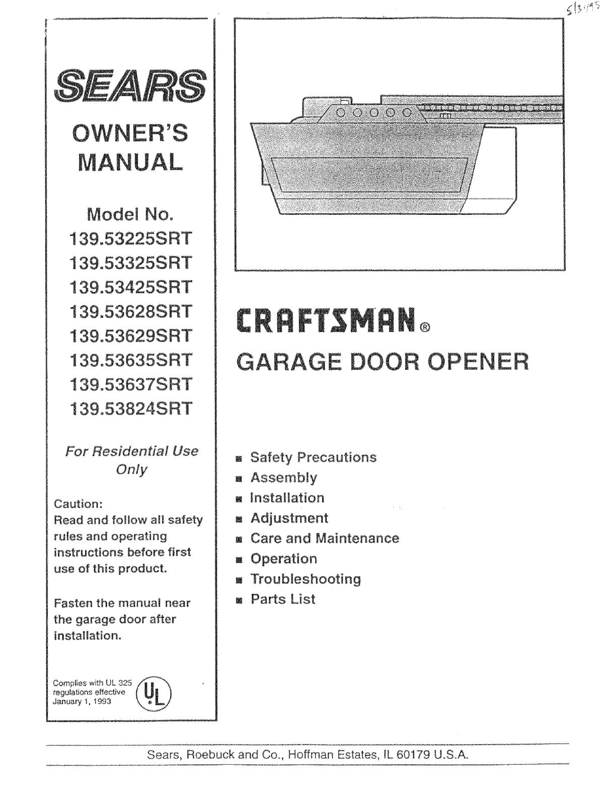 Sears Craftsman Garage Door Opener Troubleshooting 1 2 Hp