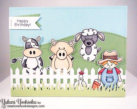 Newton S Nook Designs March Reveal Day 2 Farmyard Friends Farm Animal Birthday Unique Cards Farm Yard