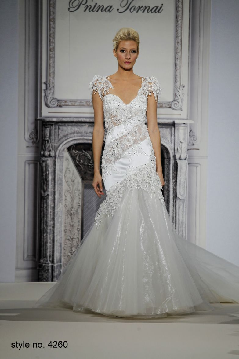 Silk satin mermaid gown adorned with illusion lace appliquesflutter