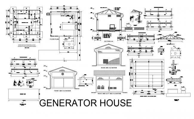 Floor Plan Of Generator House 8 10mtr X 7 04mtr With Elevation And Section In Dwg File In 2021 Generator House Floor Plans Open House Plans