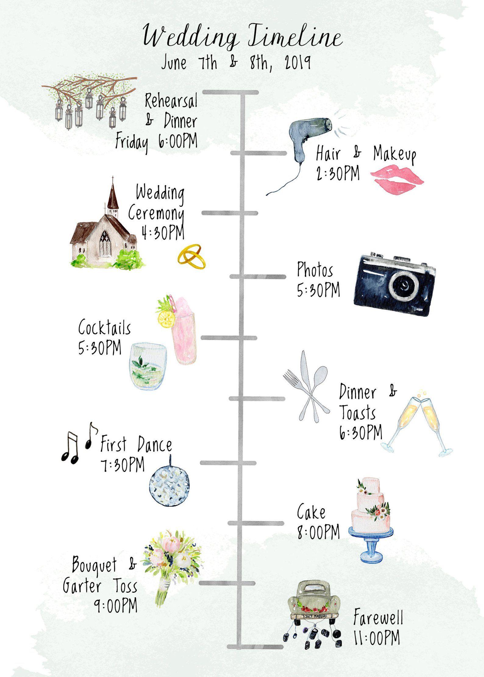Wedding Timeline Editable Timeline Printable Wedding Etsy Wedding Itinerary Template Wedding Itinerary Wedding Timeline Wedding timeline day of template