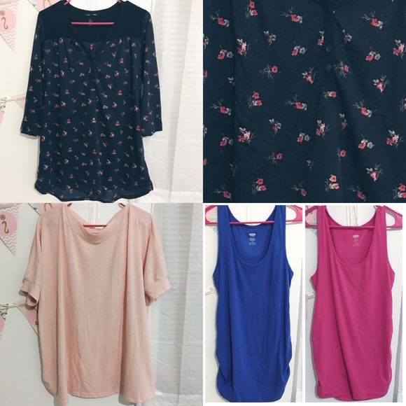 Maternity Bundle ✨ H&M and Old Navy ALL GENTLY WORN & IN GREAT CONDITION H&M Mama Floral Shirt - Medium (cute and comfy, can be worn all months of pregnancy and even after!) Old Navy Rose Pink Maternity T-shirt - Large (wide at the neck, short slits on each side of the bottom, soft and airy) Old Navy Blue and Hot Pink Tank Tops - Large (extremely stretchy, sure to accommodate that sweet baby bump! scrunchy elastic on the sides) Old Navy Tops Tees - Short Sleeve