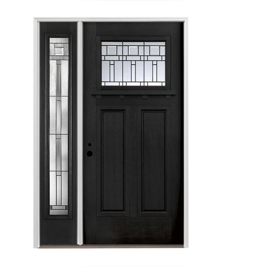Pella Craftsman Decorative Glass Right Hand Inswing Prefinished Black Fiberglass Prehung Entry Door With Exterior Doors Exterior Front Doors Craftsman Exterior